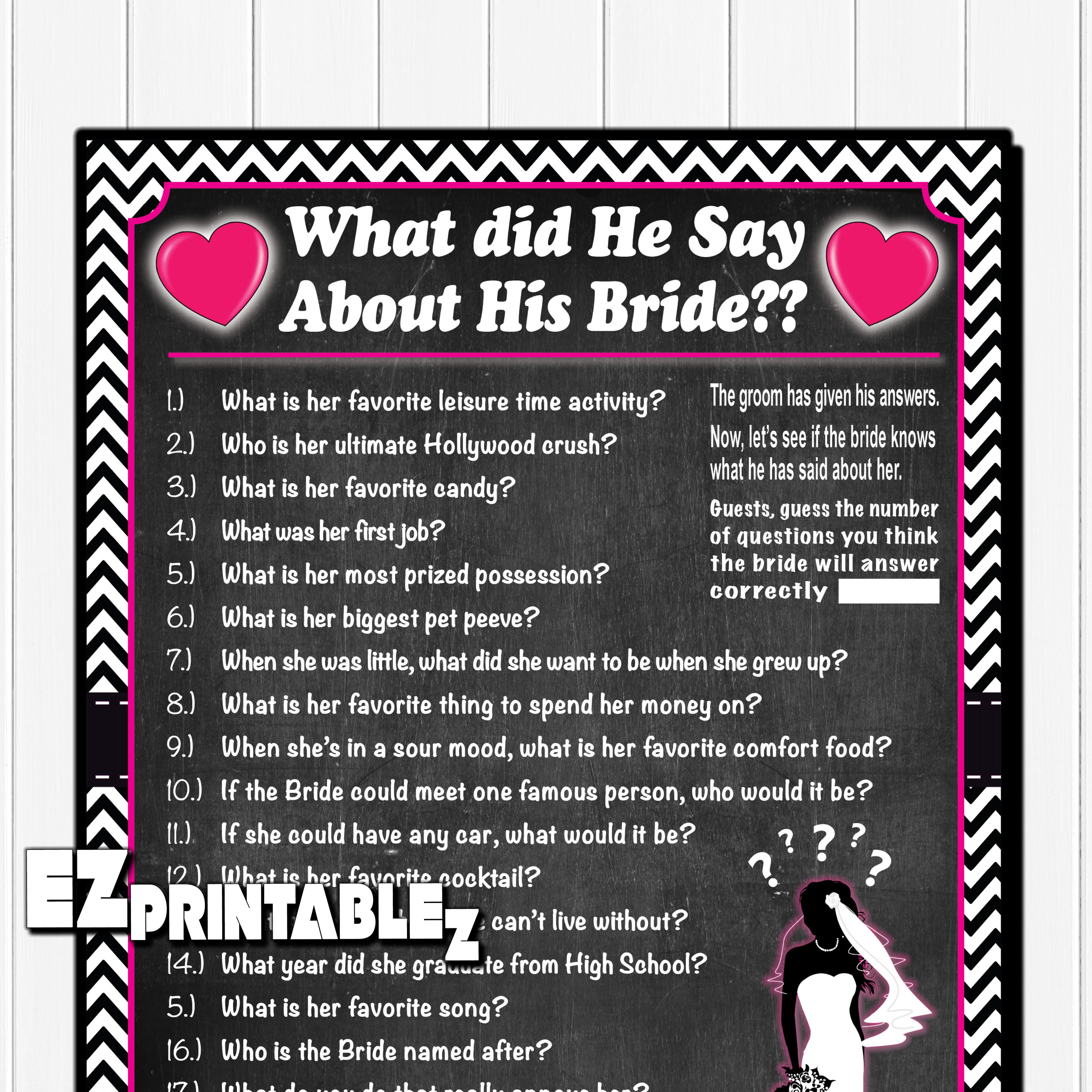 "Printable Wedding Shower Game / Bridal Shower Game ""How"